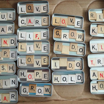 Wedding Favors Scrabble Letter Slide Tins - DO IT YOURSELF Kits - Wedding - Anniversary - Engagement - Birthday - Special Events