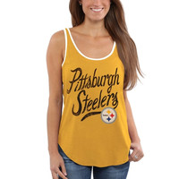 Pittsburgh Steelers Junk Food Women's Roster Ringer Tank Top – Gold