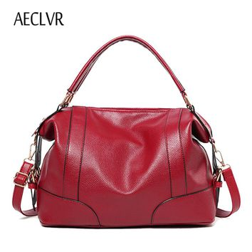 AECLVR Women Soft Leather Shoulder Bag New 2017 Girls Hobos Bag Big Women Casual Tote Handbag Fashion Ladies Shopping Travel Bag