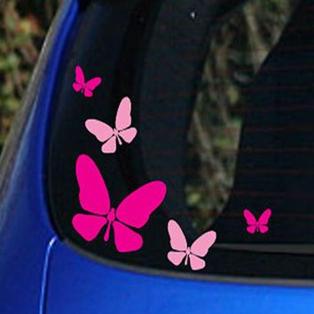 Fashion New Free Shipping Pink and Hot Pink 5x Butterfly Vinyl Car Stickers ,girls car window decoration sticker for girls