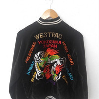 CLEARANCE SALE 25% Vintage 80's Sukajan JAPAN Yokosuka Dragon West Pac Embroidered Souvenir Bomber Army Velvet Jacket