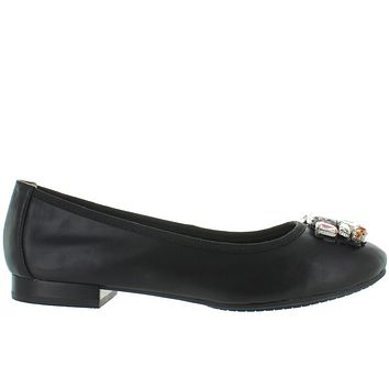 Me Too Sapphire - Black Leather Bejeweled Ballet Flat
