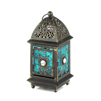 Jeweled Blue Glass Candle Lantern