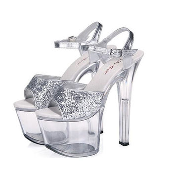 Big Size 35-44 17CM Thin High Heels Women Crystal Pumps Sexy Transparent Sandals Platform Nightclub Shoes Glitter Silver
