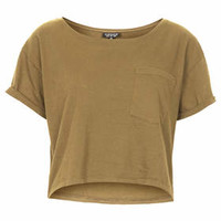 Roll Pocket Crop Tee - Khaki