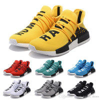 2017 NMD HUMAN RACE Pharrell Williams x boost Yellow red black blue grey green white men women running shoes Sport sneakers Shoes size36-45