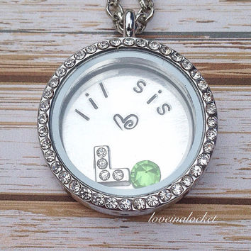 Little Sister Floating Locket, Lil Sis Locket, Hand Stamped Sister Necklace, Sister Floating Locket, Little Sister Necklace, Sister Jewelry