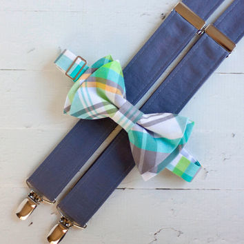The Beau- aqua/gray/lime plaid bow tie/gray suspender set for boys of all age