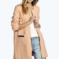 Boutique Kira Collarless Duster Coat