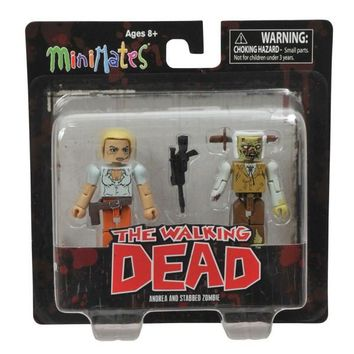 Walking Dead Andrea and Stabbed Zombie Minimates Action Figures