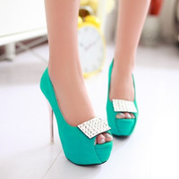 Fashion Round Toe Peep Stiletto High Heel Basic Green PU Pumps     QJ140408405-2