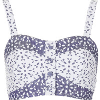 Contrast Floral Button Bralet - Tops - Clothing - Topshop USA