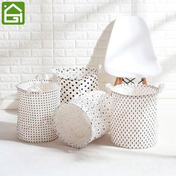 Large Natural Cotton Fabric Waterproof Coating Laundry Hamper Bucket Dirty Clothes Toys Storage Basket Bin with Handles
