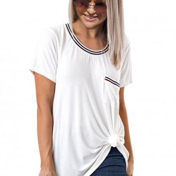 Casual Womens White Be About It Basic Pol Tee
