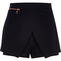 River Island Womens Black pinstripe smart skort