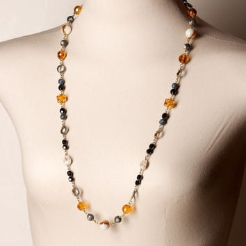 Amber Black Grey and Cream Bead Necklace