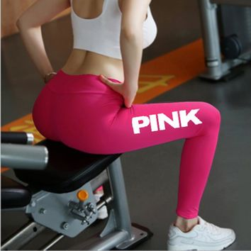 2017 Women High Waist Slim Vs Pink Legging Women Love Pink Letter Print Workout Leggings Sporting Adventure Time Legging P70 Z30