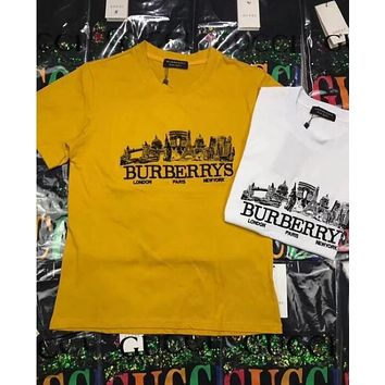 Burberry Trending Women Men Stylish City Letter Embroidery Short Sleeve Cotton T-Shirt Top Yellow I12900-1
