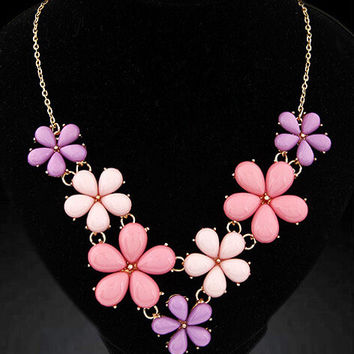 New Arrival Shiny Gift Stylish Jewelry Accessory Sea Blue Floral Necklace [6586306375]