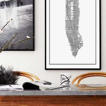 New York Map Print, Manhattan Map Print, NYC, New York Print, City Map Print, New York City Poster, Manhattan, Black and White NYC Poster