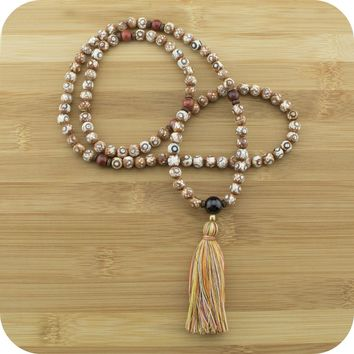 Brown & White Fire Agate Dzi Meditation Mala Beads Necklace with Red Garnet