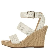 White Braided Espadrille Wedge Sandals by Charlotte Russe