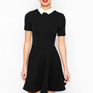 Black Short-Sleeve Keyhole Back A-Line Collared Dress