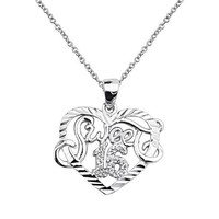 ".925 Sterling Silver Rhodium Plated CZ Sweet 16 Diamond Cut Pendant Necklace with 1.2mm Cable Rolo Chain - 16""+2"" Inches Extension"