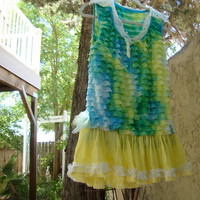 Tropical tank dress large upcycled beach resort yellow green blue repurposed sari beading handmade tulle flower vintage doily lace collar