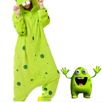 New Funny Energetic Two-Teeth Green Monster Adult Kigurumi Costume Onesuit KK296