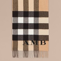 The Large Classic Cashmere Scarf in Check in Camel | Burberry United States