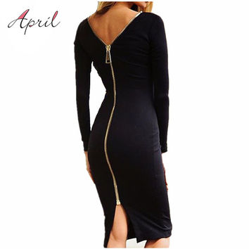Bodycon Sheath Dress Little Black Long Sleeve Party Dresses Women Clothing Back Full Zipper Robe Sexy Femme Pencil Tight Dress