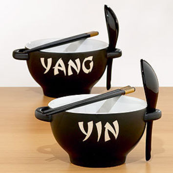 Black & White Yin Yang Bowl Sets, Set of 2 | Serveware| Kitchen & Dining | World Market