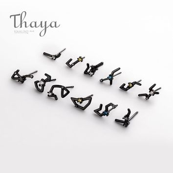 2018 Thaya 12 For Constellation Zircon Stud S925 Sterling Crystal Earrings For Women Punk Mystical Jewelry Elegant Birthday