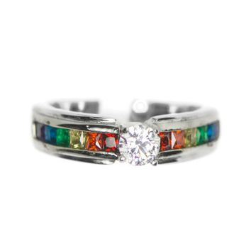 Stainless Steel Channel Set Rainbow CZ Ring
