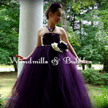 Pretty Plum Flower Girl Dress