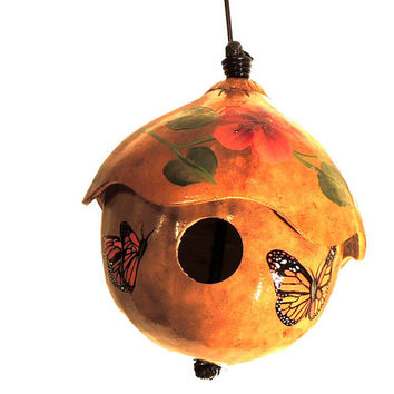 Painted Gourd Birdhouse With 2 Monarch Butterflies and Red Orange Flowers, Made to Order