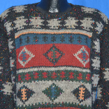 80s Woolrich Geometric Pattern Heavy Wool Sweater Extra-Large