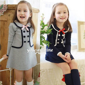 2016 New Fashion Cute Preppy Toddler Kid's Baby Girl Princess College School Uniform Bow Knot Navy Ruffle Tops Dress 2-7T