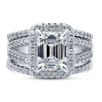 A Perfect 3CT Emerald Cut Halo Split Shank Lab Diamond Bridal Set