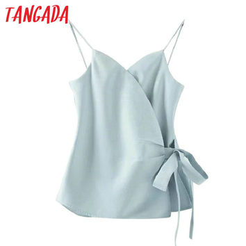 Tangada Fashion Women Elegant Candy Color Bow Drawstring Side Opens Spaghetti Strap Shirts Tank Casual Brand Blusas Tops XW33