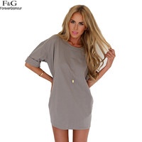 Womens Vintage Fitted Loose Pure Color Casual Shift Dress High Street Plain Short Sleeve Round Neck Shift Shirt Dress Vestido u2