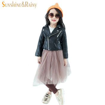 Spring & Autumn Fashion Kids Leather Jacket Girls PU Jacket Children Leather Outwear For Girl Baby Girl Jackets and Coats 2~7 T