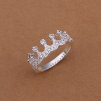 Fashion Jewelry Ring Silver Plated Rhinestone Ring Christmas Gifts Size 8