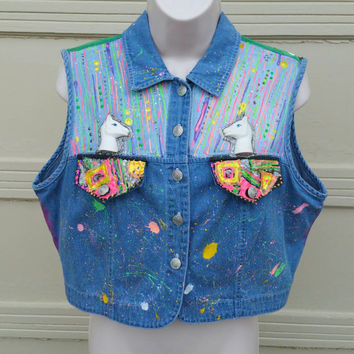 Custom Denim Vest Acid Grunge Cropped Jean Vest  Hand Painted Neon Festival Outfit Troll My Little Pony Club Vest Burning Man Costume Top