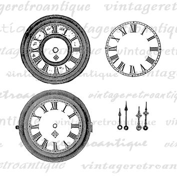 Digital Printable Clock Faces Download Blank Clock Watch Face with Clock Hands Graphic Image Vintage Clip Art Jpg Png Eps HQ 300dpi No.1821