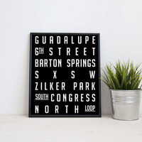 Austin Texas subway sign art, SXSW, Congress, 8x10 digital print, black and white, instant printable poster, typography wall art, home decor