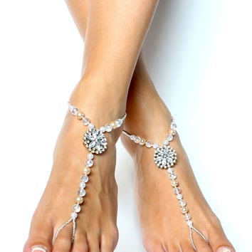 Pearl and Rhinestone Barefoot Sandals