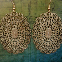 Vintage Inspired Large Intricate Oval GOLD FILIGREE EARRINGS  // Big and Bold // Light // gift for her
