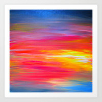 BRIGHT HORIZONS Bold Colorful Rainbow Pink Yellow Blue Abstract Painting Sunrise Sunset Stripes  Art Print by EbiEmporium